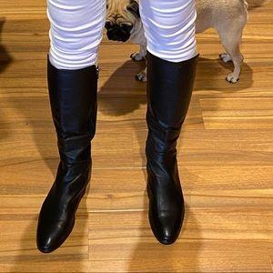 Hobbs black leather knee high Boots sz 41